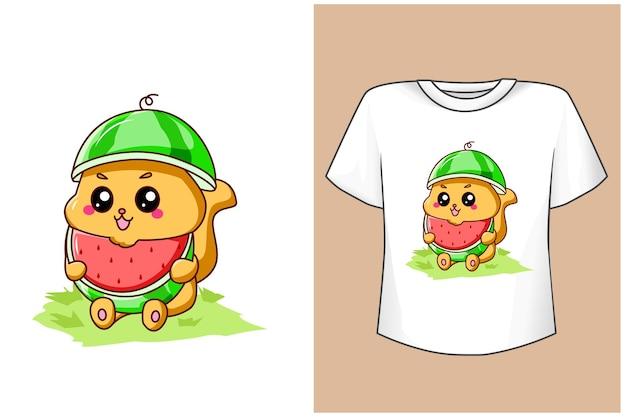 T-shirt projeto maquete gato fofo com frutas