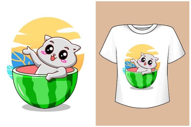 T-shirt projeto maquete gato fofo com suco