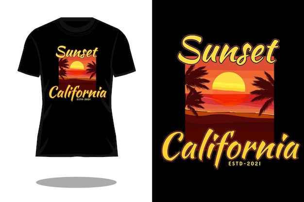 T-shirt retro da califórnia ao pôr do sol