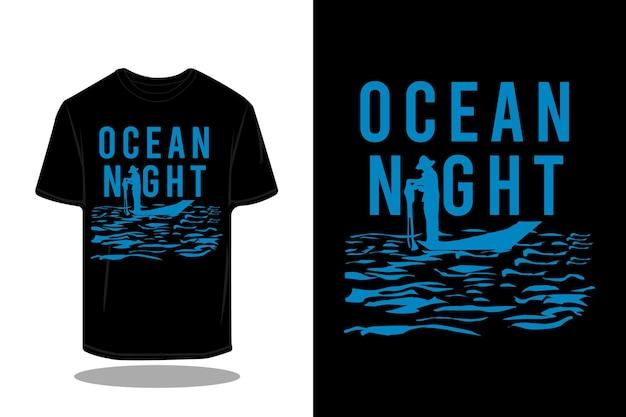 T-shirt retro da silhueta da noite do oceano