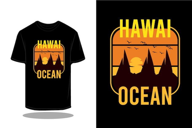 T-shirt retro da silhueta do oceano do havaí