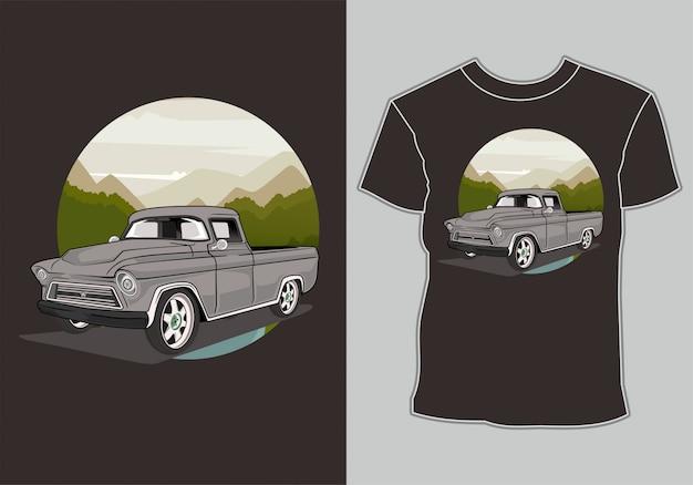 T-shirt retrô vintage carro na montanha