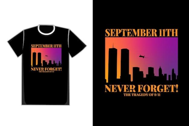 T-shirt silhueta cidade gradiente de céu