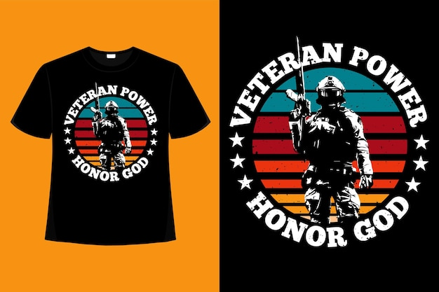 T-shirt soldado poder veterano tipografia retro vintage ilustração