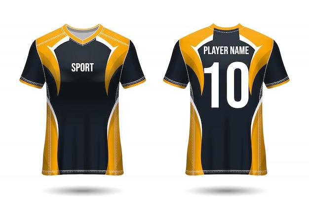 T-shirt sport design. camisa de futebol para clube de futebol. vista frontal e traseira uniforme.