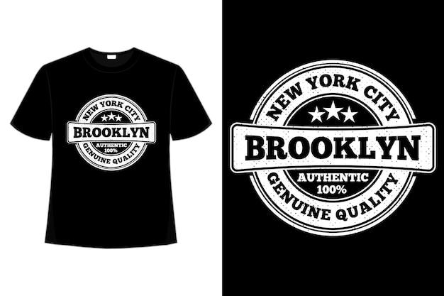 T-shirt tipografia brooklyn new york qualidade vintage style