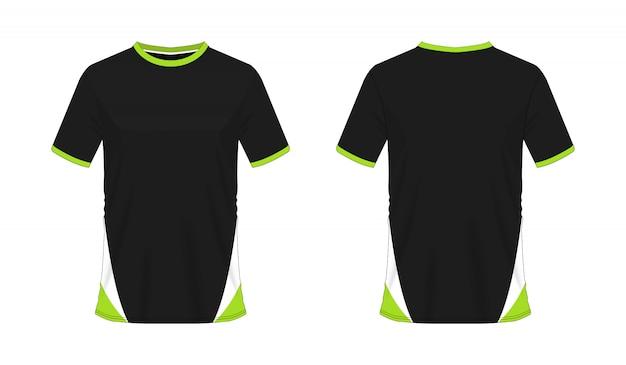 T-shirt verde e preto futebol ou futebol jersey esporte, ilustração Vetor Premium