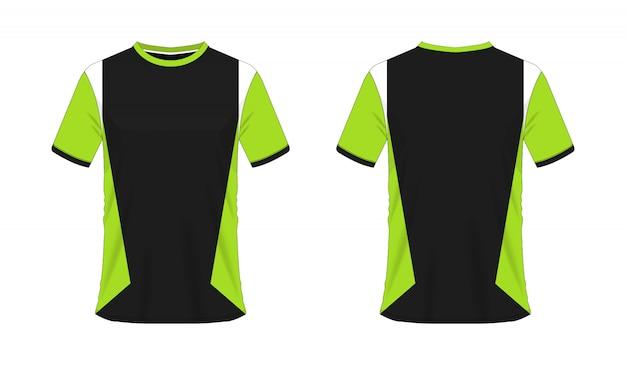 T-shirt verde e preto futebol ou futebol jersey esporte, ilustração