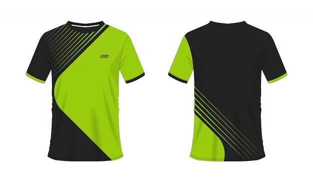 T-shirt verde e preto modelo de futebol ou futebol para clube de equipe em fundo branco. esporte de jersey, ilustração eps 10 do vetor.