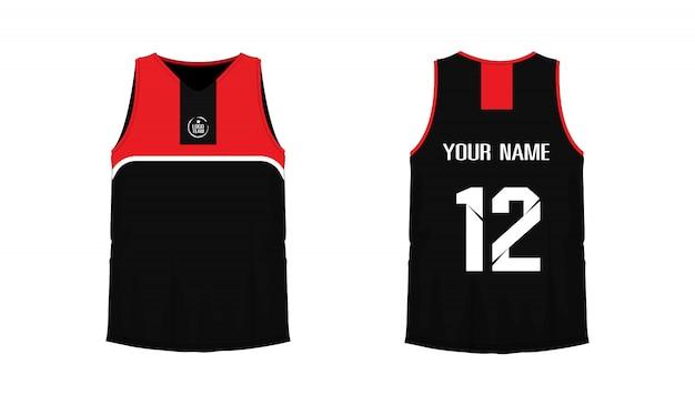 T-shirt vermelho e preto modelo de basquete ou futebol para o clube da equipe em fundo branco. esporte de jersey,