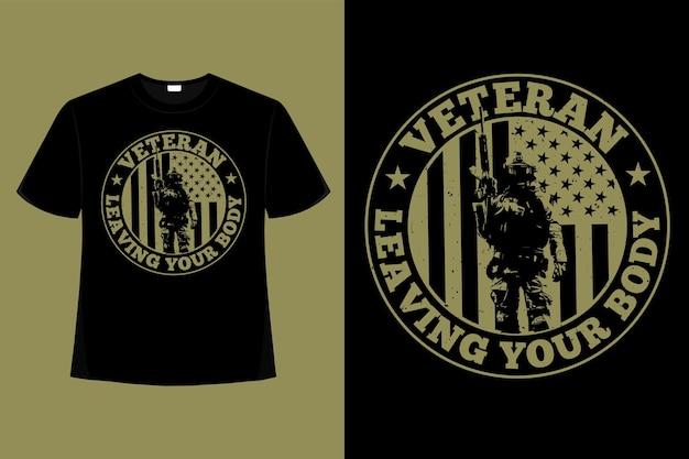 T-shirt veterano bandeira americana tipografia ilustração vintage