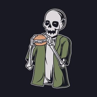 T-shirt vintage com desenho de caveira e ilustração de hambúrguer