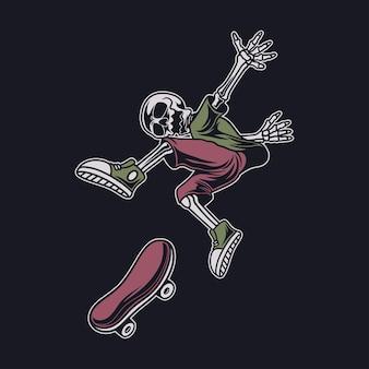 T-shirt vintage com desenho de caveira na posição de salto e girando a placa ilustração do skate