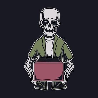 T-shirt vintage com desenho de caveira segurando a caixa com ilustração de duas mãos Vetor Premium