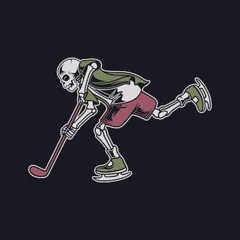 T-shirt vintage desenhe o crânio em uma posição de drible e engane o oponente ilustração de hóquei