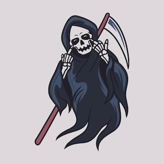 T-shirt vintage design divertido ilustração do ceifador