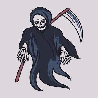 T-shirt vintage design ilustração assustadora do ceifador
