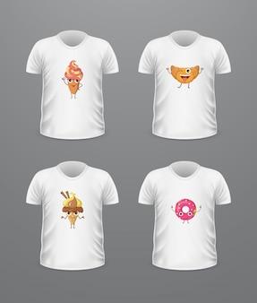 T-shirt vista frontal com alimentos isolado no branco