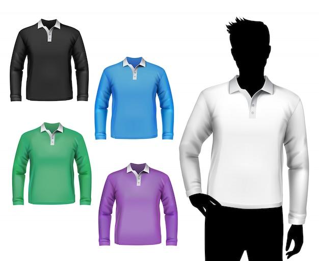 T-shirts conjunto de manga comprida polo masculino