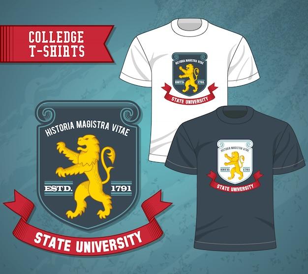 T-shirts das etiquetas da faculdade