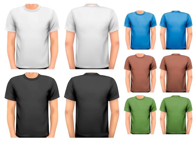 T-shirts masculinas a preto e branco e a cores.