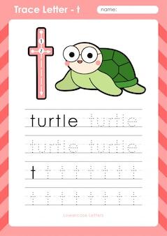 T tartaruga: planilha de letras de rastreamento do alfabeto az - exercícios para crianças
