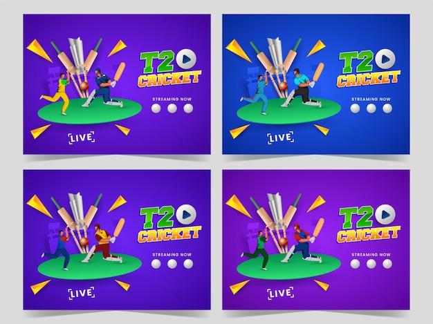 T20 cricket assistir show ao vivo com batsman, bowler em pose de jogo e copa troféu de prata 3d no fundo azul. conjunto de banner ou design de cartaz.