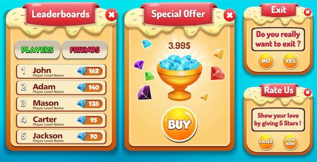 Tabela de classificação, oferta especial, classifique-nos e sair do menu pop-up com pontuação de estrelas e gui de botões