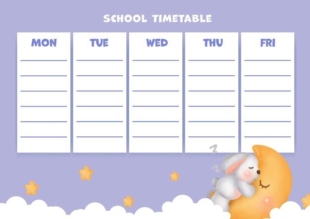 Tabela de horário escolar com coelho fofo.