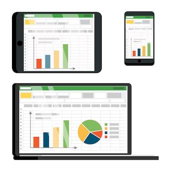 Tabela de planilha no tablet, conjunto de tela de smartphone