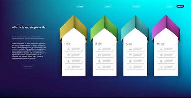 Tabela de preços com quatro opções tabela de comparação de preços. lista de banner moderno.
