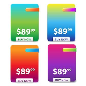 Tabela de preços de 4 cores