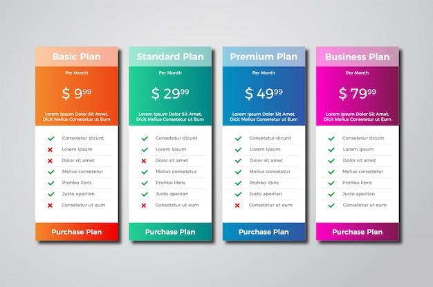 Tabela de preços modernas projeto de modelo