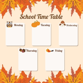 Tabela do tempo da escola do outono