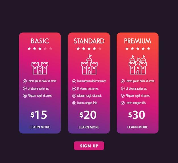 Tabela e caixas de preços modernas