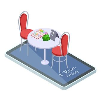 Tabela reservada online no café ou restaurante com aplicativo móvel isométrico