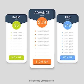 Tabelas de preços com diferentes cores e taxas