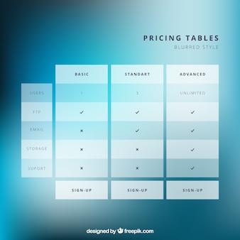 Tabelas de preços em estilo minimalista