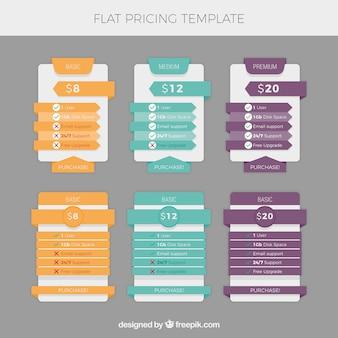 Tabelas de preços planas com cores diferentes