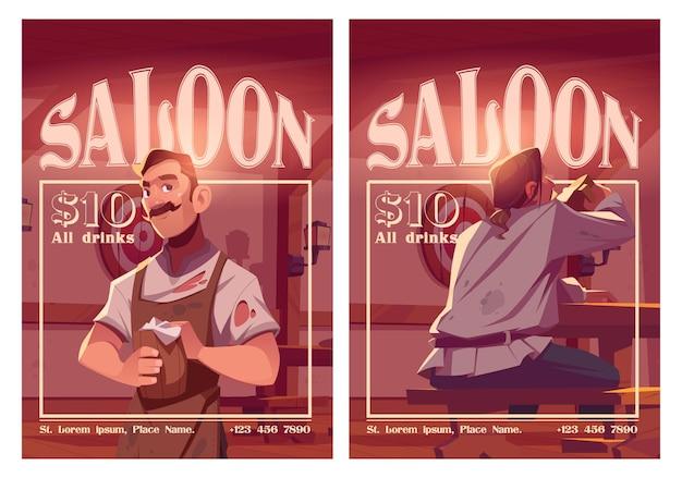 Taberna de cartazes de desenhos animados de saloon em estilo antigo com barista segurando uma caneca de madeira e convite para jantar para visitantes em bar de cerveja retrô com bancadas de mesa e panfleto de mesa com preço