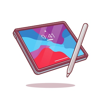 Tablet and stylus pencil cartoon ilustração.