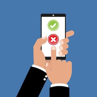 Tablet com a marca de seleção e x marcam o formulário de pesquisa on-line correto e errado