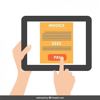 Tablet com botão de pagamento na tela