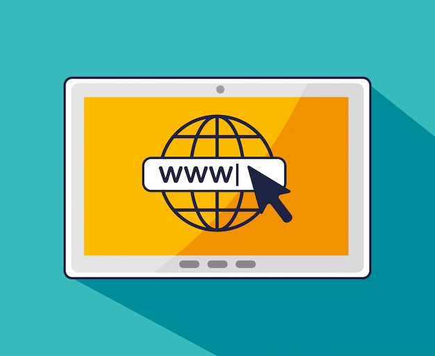 Tablet com cursor de seta e conexão global