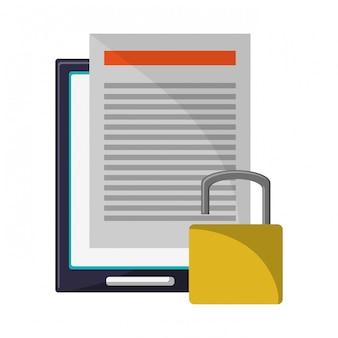 Tablet com documento protegido
