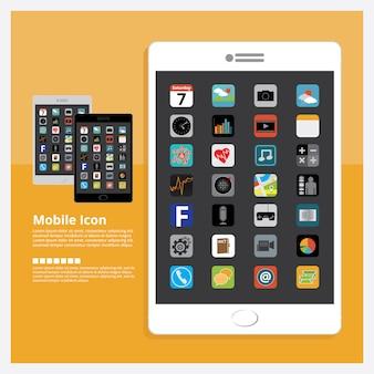 Tablet com icon design conjunto de ilustração vetorial