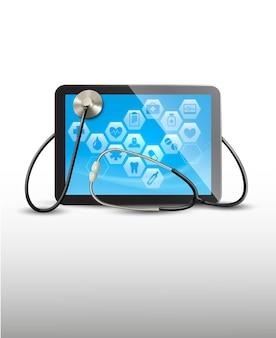 Tablet com ícones médicos e um estetoscópio.