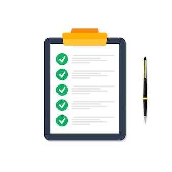 Tablet com lista de tarefas executadas. fundo branco. identificador é retratado à direita. marcas são verdes.