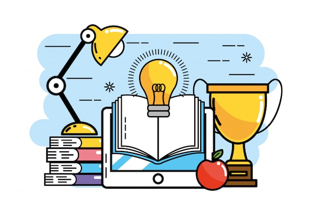 Tablet com livros e idéia de bulbo para voltar a escola