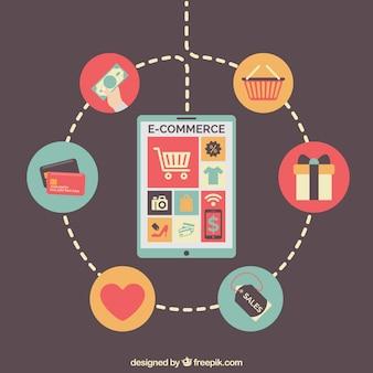 Tablet com produtos e serviços para compras